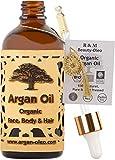 R&M Beauty-Oleo - Huile d'Argan BIO de Première Pression à Froid. Huile marocaine de commerce équitable pour cheveux, visage, ongles, lèvres, cicatrices et boutons (100ml)