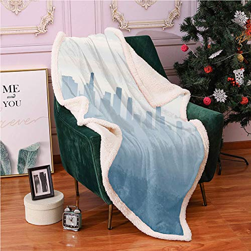 SeptSonne Fog Sherpa Blankets,Illustration of Panoramic Foggy City Downtown Los Angeles California Photo Lightweight Fluffy Flannel,Sofa,Soft Cozy Blankets(50x60,Blue Grey and Eggshell)
