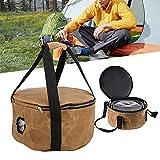 Bolsa de almacenamiento para utensilios de cocina para acampar, buena compatibilidad Bolsa de almacenamiento para ollas para acampar Mango y uso cómodos para acampar, viajes, picnic(Mud color)