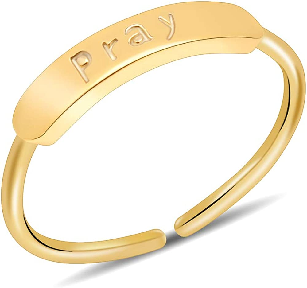 JSJOY Personalized Rings for Women Gold, 14K Gold Plated Engraved Rings for Women, Adjustable Beautifully Broken Ring, Inspirational Jewelry Gifts for Her