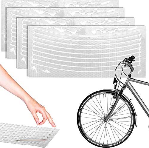 ZooJa® Felgenaufkleber Reflektoren Set 32 reflektierende Selbstklebende Streifen für 27,5 28 und 29 Zoll Fahrrad Felgen als Zubehör für MTB oder Rennrad Licht- und UV-Beständig (Silber)