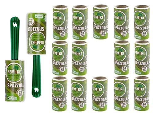 remake Set Spazzola Adesiva in Plastica 95% Riciclata (16 Rotoli+ 2 Manici. 24 Fogli). Rullo levapelucchi rimuovi peli Cani e Gatti. togli Pelucchi, Polvere, lanugine