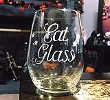 Taza de vino DKISEE con forma de copa de vino o whisky, sin tallo Ideal como regalo para amigos, ideal para amantes del vino, copa de vino o whisky, vidrio, Un color, 15oz