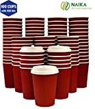 Eco-Friendly |8 Oz Red Ripple Coffee Cups with Lids| Disposable Insulated To Go Paper Cups | 100 Cups + 100 fitting Lids