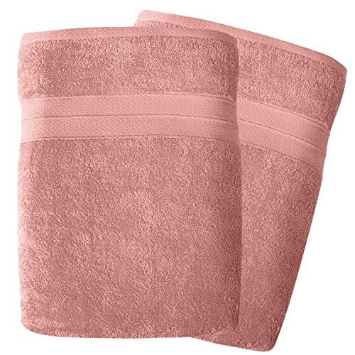 SOHYGGE – Lot Drap de Bain Grande Taille 100 x 150 cm (2 pcs), 100% Coton 500gr/m2, Écologique sans Produit Chimique Oeko-TEX – 2 x Serviette de Bain Grande Taille XXL Doux et Absorbant (Rose)