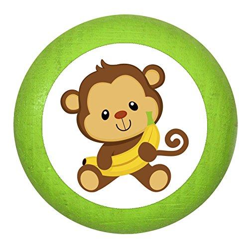 """Holz Bucheknauf""""Affe Banane"""" limette grün Holz Buche Kinder Kinderzimmer 1 Stück wilde Tiere Zootiere Dschungeltiere Traum Kind"""