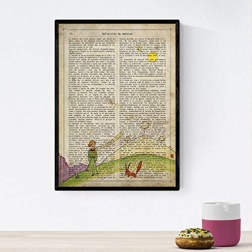 Nacnic Poster del principito para niños pequeños. Lámina de Principito y el Zorro con definiciones. Posters de Cuentos e Ilustraciones para niños. Tamaño A4 con Marco