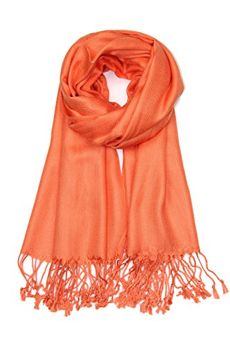 Achillea Large Soft Silky Pashmina Shawl Wrap Scarf in Solid Colors (Orange)
