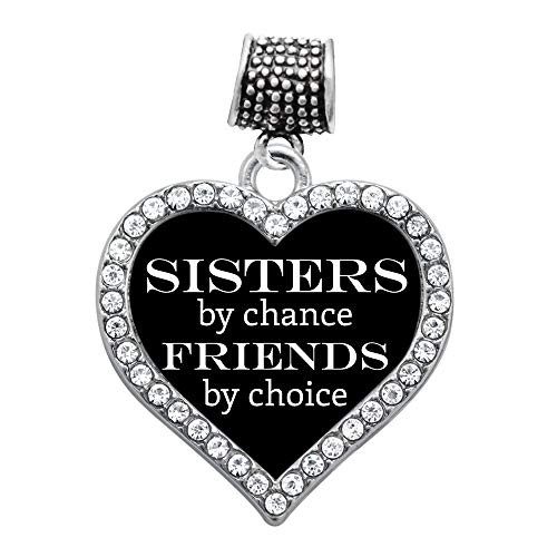 Inspired Silver - Sisters by Chance, Friends by Choice Memory Charm for Women - Silver Open Heart Charm for Bracelet with Cubic Zirconia Jewelry