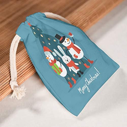 Lind88, set di 6 sacchetti in tela traspirante con pupazzo di neve, per regali di San Valentino, feste e regali, Tela, bianco, 12 * 18cm