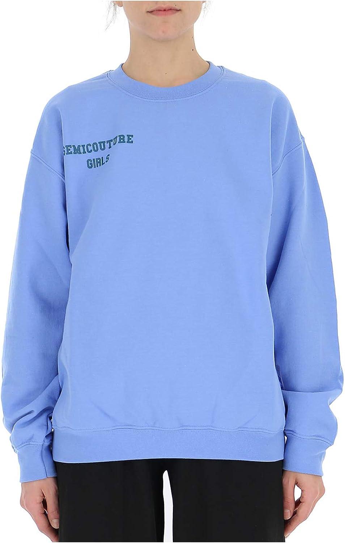 SEMI-COUTURE Y9PT30SC130 Women's Light bluee Cotton Sweatshirt