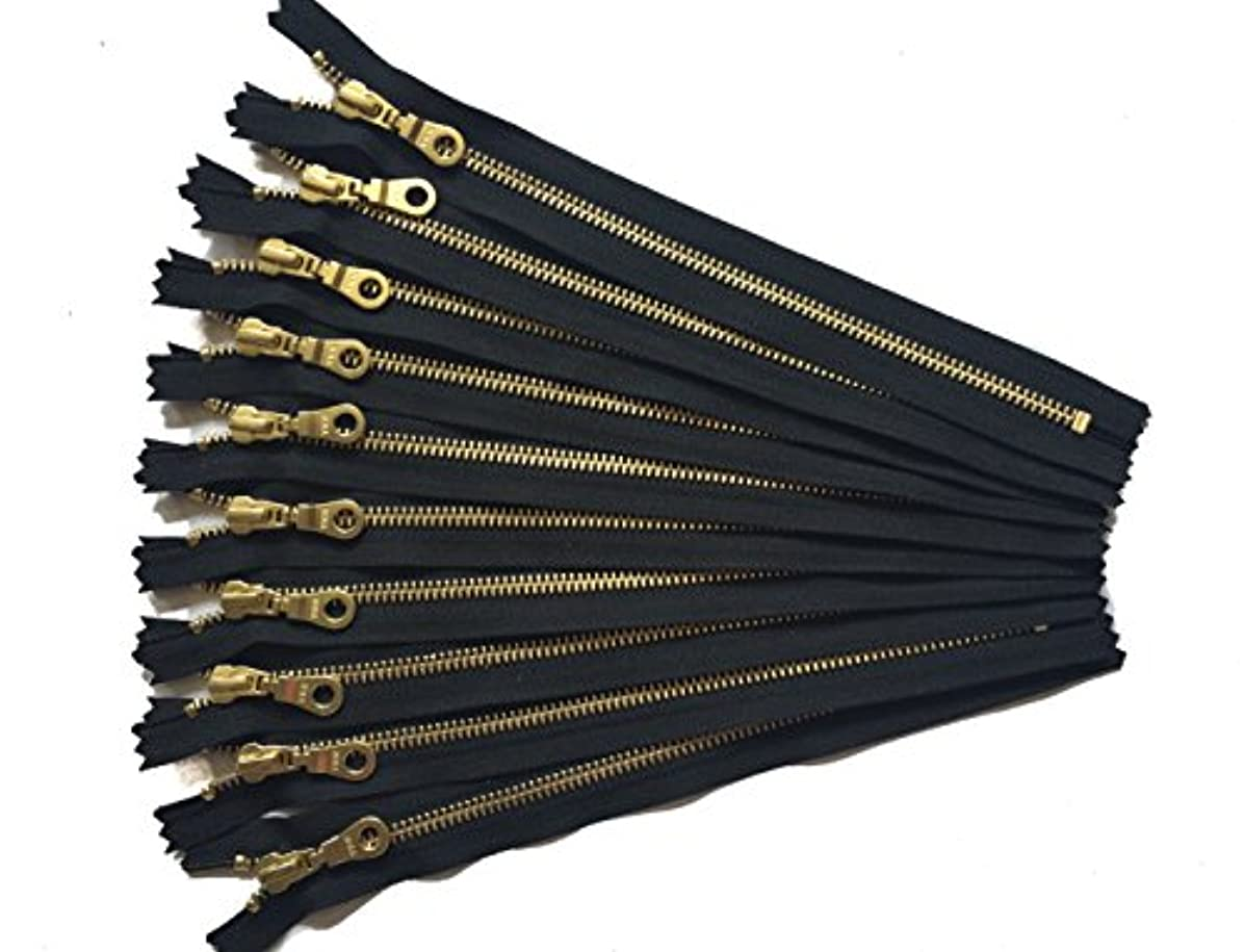 12 Inch Golden Metal YKK Zippers in Black With Donut Pulls Number 5 Brass teeth Set of 10 Pieces by Craftbot