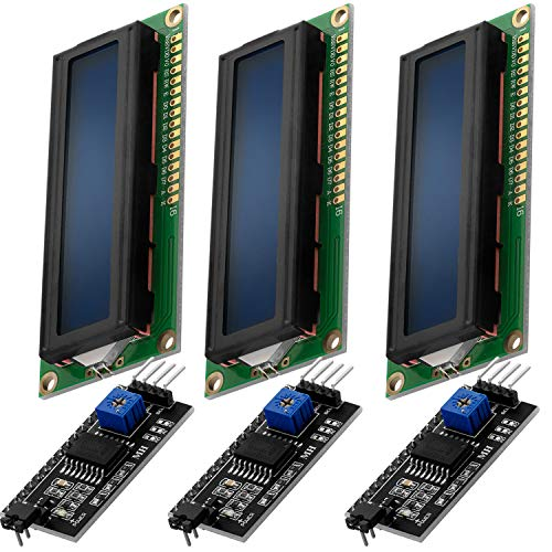 AZDelivery 3 x HD44780 16x2 LCD Modul Display Bundle mit I2C Schnittstelle 2x16 Zeichen inklusive E-Book! (mit Blauem Hintergrund und Weißen Zeichen)