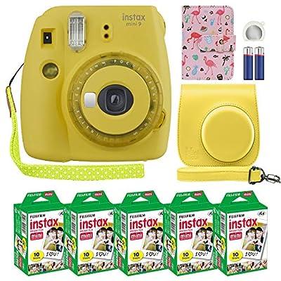 Fujifilm Instax Mini 9 Instant Camera with Custom Case + Fuji Instax Film Value Pack (50 Sheets) Designer Photo Album for Fuji instax Mini 9 Photos.… from FUJIFILM