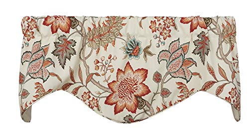 Valances for Windows Valance Curtains Kitchen Window Valances or Living Room Window Treatments Orange Red Curtains Floral Curtains 53 Inches x 16 Inches