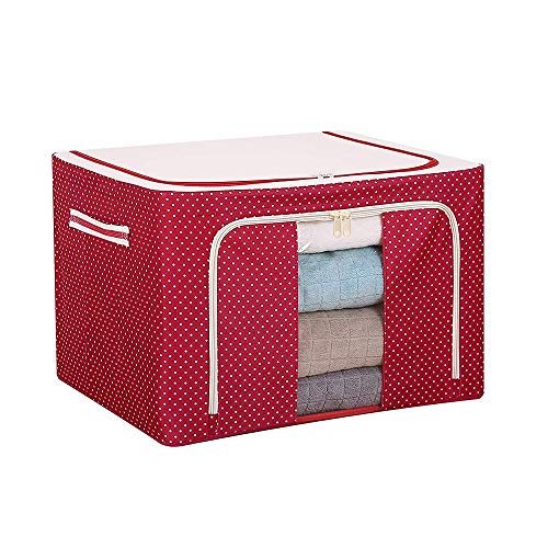 Foldable Oxford Cloth Steel Frame Storage Box,Large Capacity Clothes Quilt Storage Organize Bag Container with Clear Window for Clothes Bed Sheets Blankets Home (A)