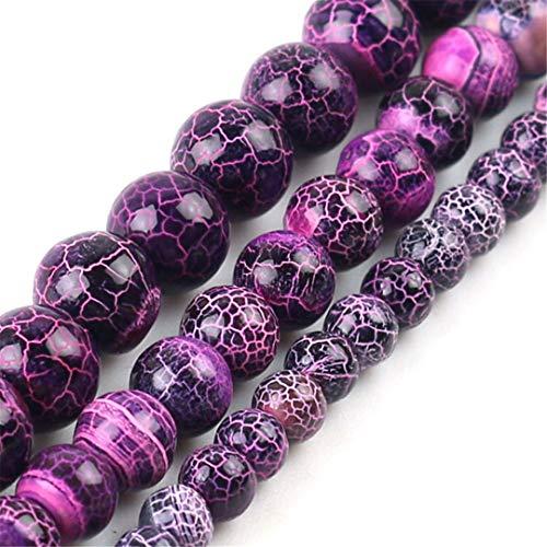 HUKGD Frost púrpura Suave Redondo Redondo Piedra Natural Perlas Sueltas para joyería Hacienda DIY Collar Studs 6 / / 8/10 mm Purple 8mm About 46pcs