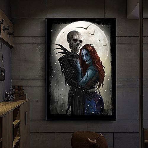 Nachtmerrie van live action, muurschildering frameloze schilderij op canvas voor Kerstmis 75x112cm