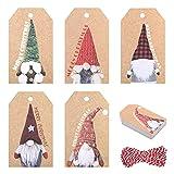 HONMOK 150pcs Etiquetas de Papel Kraft Navideñas Etiquetas de Embalaje para Regalo Navidad Etiqueta Rectangular con Cuerda de algodón 10m 5 Estilos 45x76MM Decoración Original Tarjeta de Mensajes DIY