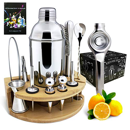Britimes 25 oz Cocktail Shaker Set with Bamboo Stand(18 piece), Mixology Bartender Kit, Professional Stainless Steel Bar Tool Set, Premium Bartending Kit for Home,Bars,Traveling and Outdoor Parties