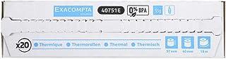 Exacompta - Réf. 40751E - Boite de 20 bobines pour tickets de carte bancaire 57x40 mm - 1 pli thermique 55g/m2 sans BPA. -...