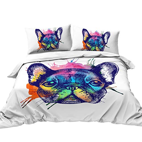 BlessLiving Animal Dog Printed Duvet Cover & Pillowcase Set Watercolor French Bulldog White Bedding 3 Pcs Colorful Abstract Art Bedspread Super Soft and Easy Care (Twin)
