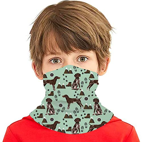German Shorthair Pointer Pet Portrait Mountains Hiking Kids Neck Gaiter Balaclava Reusable Washable UV Protection Face Cover Scarf Protective Masks For Summer Winter Cycling Hiking Sport Outdoor