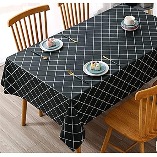 Mantel De PVC Impermeable Y A Prueba De Aceite Mantel De Mesa De Centro De Impresión De Tela A Cuadros Fresca Y Simple 120x170cm(WxH) F