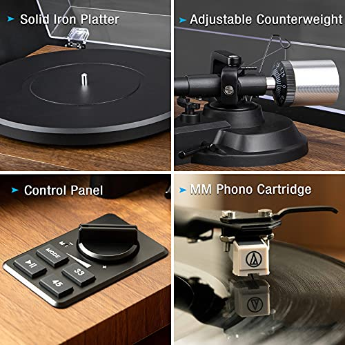 1 BY ONE Wireless Turntable HiFi System with 36 Watt Bookshelf Speakers, Patend Designed Vinyl Record Player with Magnetic Cartridge,...