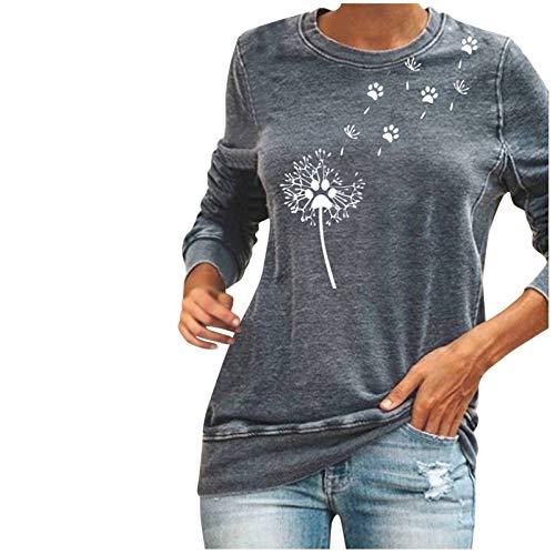 Janly Clearance Sale Blusa de manga larga para mujer, para invierno, sudadera holgada, diseño de perro, con estampado de flores, para Navidad