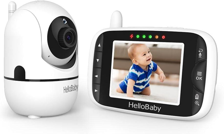 Baby Monitor,HelloBaby Remote Pan-Tilt-Zoom Baby Monitor with Camera and Audio,Night Version Temperature Sensor, 2 Way Audio,Clock Alarm,Digital Zoom,1000 FT