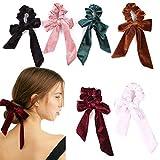 6Pcs Hair Scrunchies Bowknot Velvet Elastics Hair Bands Scrunchy Hair...