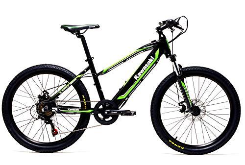 Kawasaki Bicicleta eléctrica con pedaleo asistido amortiguado 24KX y Teen–Entre y años Aprox.–batería LG–Cuadro de Aluminio–Shimano 6velocidades–autonomía de 50km–Novedad