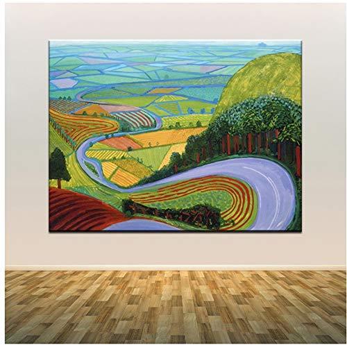 YANGMENGDAN Druck auf Leinwand David Hockney EIN größerer Splashist Benutzerdefinierte heiße Neue Kunst Poster Top Leinwand Home Decor Wandbild Drucke 50 x 70 cm (19,6