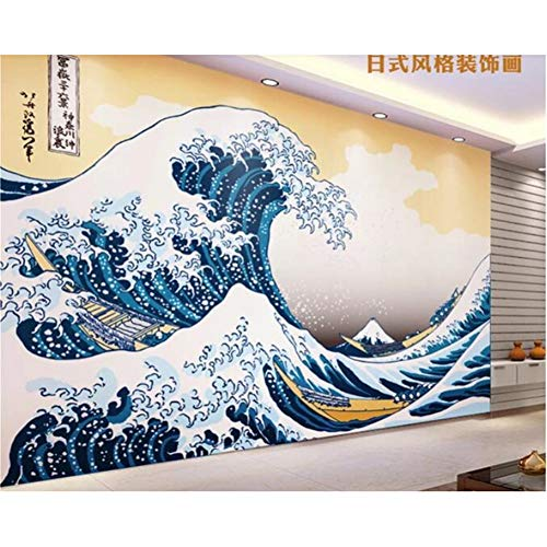 Carta da parati per camera dei bambini 3d personalizzato in stile giapponese Kanagawa onda pittura carta da parati decorazione della casa 250x175cm