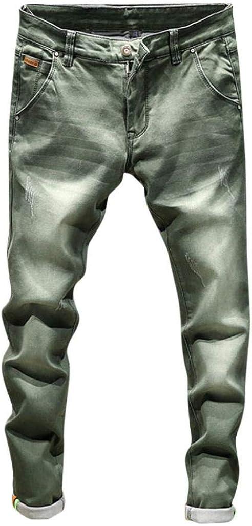 NREALY Pants Men's Casual Autumn Denim Cotton Vintage Wash Hip Hop Work Trousers Jeans Pants