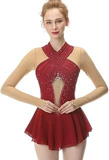 Red Figure Skating Dress,Long-Sleeved Ice Skating Skirt,Fingerpoint Sleeves Spandex Competition Dresses Mesh Skirt