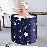 Portable Bathtub for Adults Soaking at Home Eco-Friendly Freestanding Bathtub for Shower Stall,Thickening with Thermal Foam to Keep Temperature,Blue Sky