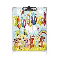 クリップボード A4 子供のための誕生日の装飾 かわいい画板 農場生活の動物風船虹雲村テーマパーティー A4 タテ型 クリップファイル ワードパッド ファイルバインダー 携帯便利多色