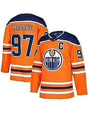 NHICR Davi ilėr - Jersey de hockey sobre hielo para hombre, transpirable, de manga larga, para entrenamiento, fiestas, para el día a día (S-XXXL) # 97 naranja-XL