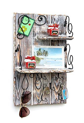 DanDiBo Wandorganizer Holz Weiß Vintage Schlüsselbrett mit Ablage 93909 Schlüsselboard Briefablage Schlüsselkasten Shabby Chic Memoboard Wandregal Schlüsselhaken