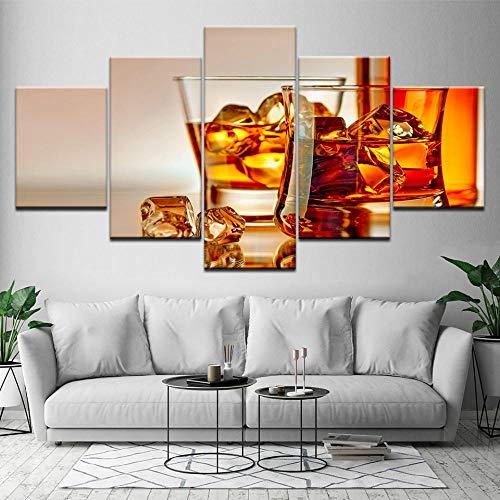 Rkmaster-canvas schilderij hoogwaardige whisky ijsblokjes 5 stuks muurschildering Mural modulaire behang poster afdrukken woonkamer decoratie