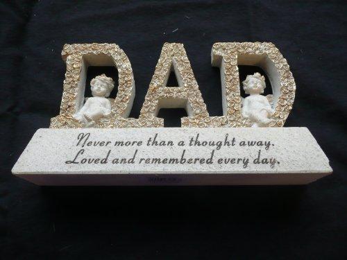 DAD Memorial Letter Plaque with Cherub decorations