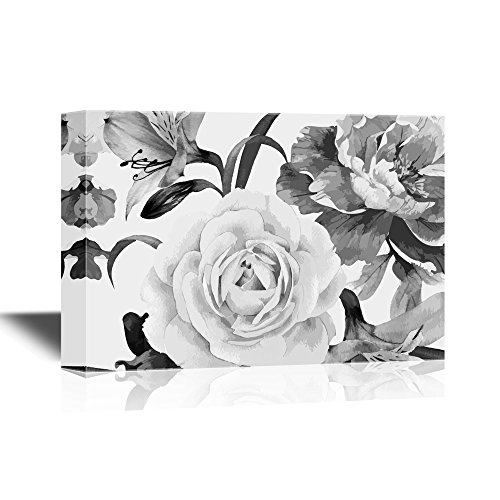 wall26 Canvas Wall Art - Flower Petals in Black and White - Gallery Wrap
