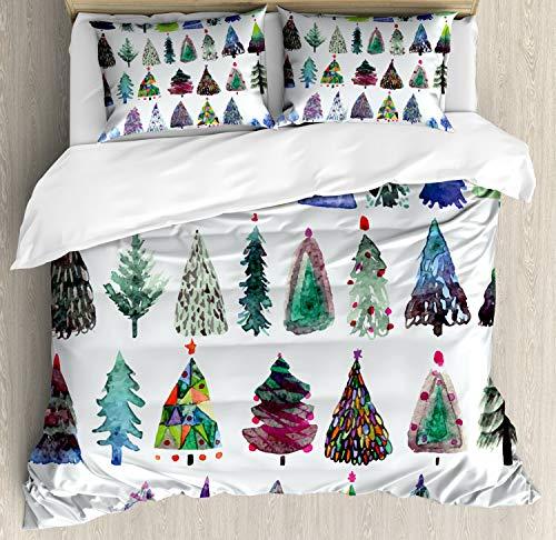 ABAKUHAUS Natale Set Copripiumino, Acquerello Abeti, Arredamento del Letto, 3 Pezzi con 2 Fodere Cuscini, 200 x 200 cm, Multicolore