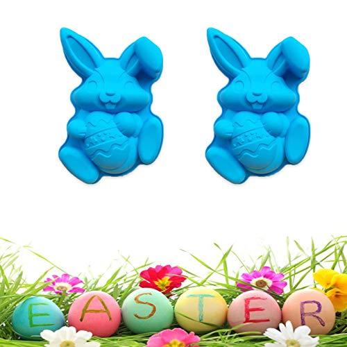 Påsk silikonform, 2 stycken 3D bunny äggform form non-stick silikonform, DIY Easter Rabbit Craft dekorationsform verktyg för tårtor, för tårtor, gelé, pudding påskägg/kanin isbitsskålar