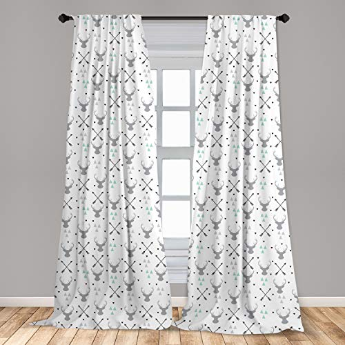 """Lunarable Antlers Curtains, Hunting Theme with Scandinavian Design Elements Arrows Triangles Deer, Window Treatments 2 Panel Set for Living Room Bedroom Decor, 56"""" x 84"""", Mint Green"""
