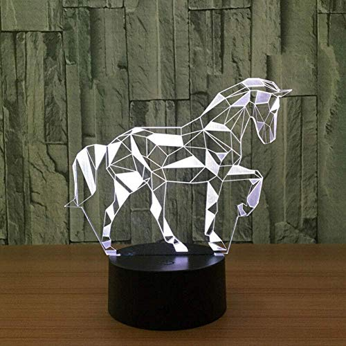 LSDAMN 3D Illusion Light Mood Lamp 3D LED Lamp 7 Colors Table Desk Light Room Lighting Birthday Gifts - Animal Puzzle Horse White Base Remote Control