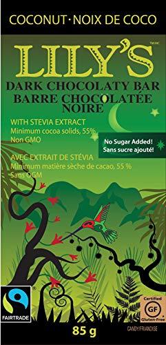Lily's Dark Chocolate Bar with Coconut Stevia, 3 Ounce