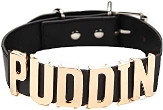 COCO LEE Black Pu Leather Choker Necklace for Haley Quinn Cosplay,for Movies Suicide Squad Custume Accessiores, Puddin Choker Necklace Collar for Women and Girls Halloween Birthday Party Cosplay
